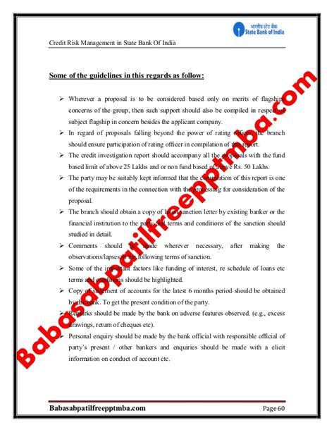 Mba 606 Managerial Finance Financial Analysis Report by A Project Report On Credit Risk Sbi Project Report Mba