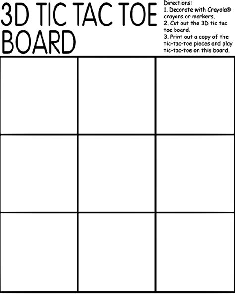 free coloring pages board game 3d tic tac toe board coloring page crayola com