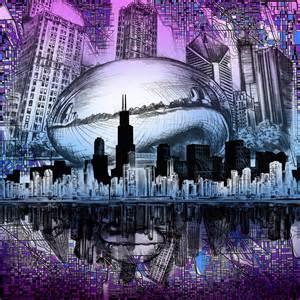 Cityscape Duvet Chicago Skyline Drawing Collage 2 Digital Art By Bekim Art