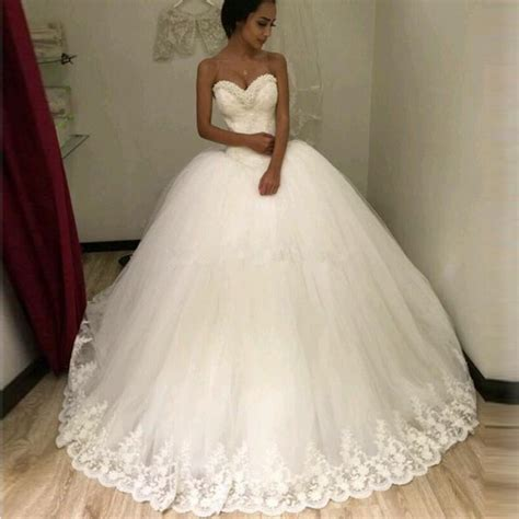 Brautkleider Ballkleid by Newest Gown Lace Wedding Dresses Sweetheart