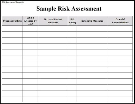 exle of risk assessment report template risk assessment template risk sle assessment