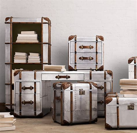 restoration hardware stand up desk a desk bookshelves chests in various sizes and trunks