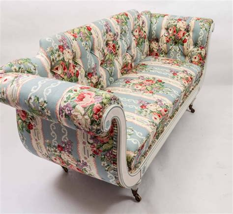 fabric settees 19th century english regency settee in floral linen print