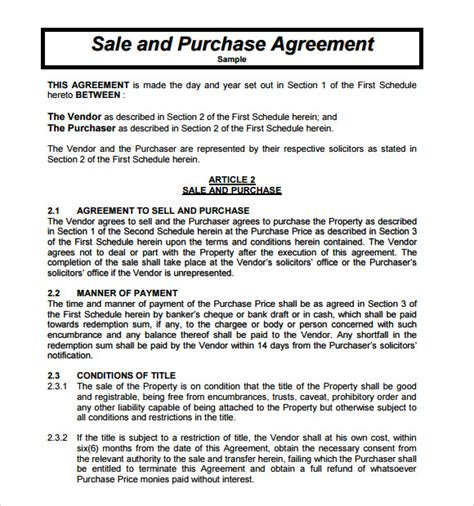 purchase and sale agreement 9 free sles exles