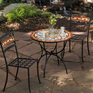 Mosaic Patio Table And Chairs Coral Coast Jardin Mosaic Bistro Set At Hayneedle