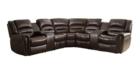 3 recliner sectional homelegance 3 piece bonded leather sectional reclining