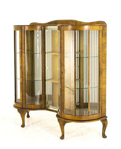 Antique Curio Cabinet Curved Glass   Antique Furniture