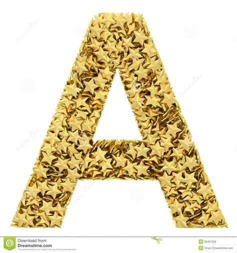 sta lettere letter a composed of golden isolated on white stock