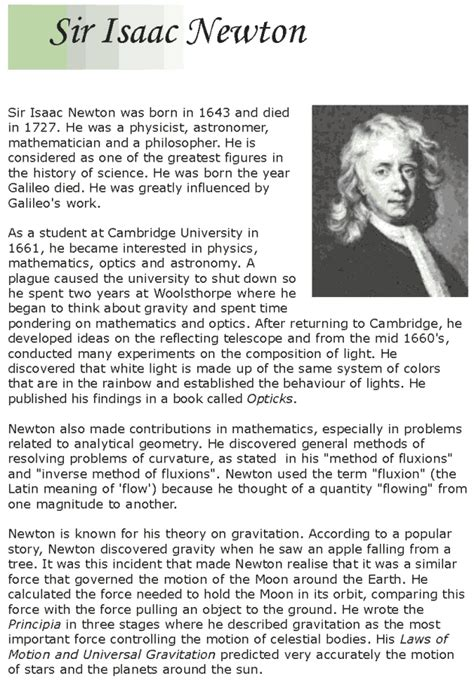 isaac newton quick biography grade 7 reading lesson 13 biographies isaac newton 1