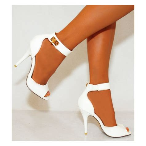 womens white high heels womens white pu faux leather ankle strappy