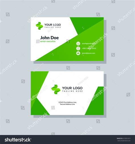 green card template for modern green business card template flat stock vector