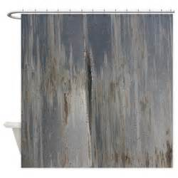 gray distressed metal industrial shower curtain by
