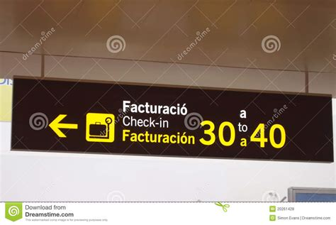 Airport Check In Desk Sign Royalty Free Stock Photos