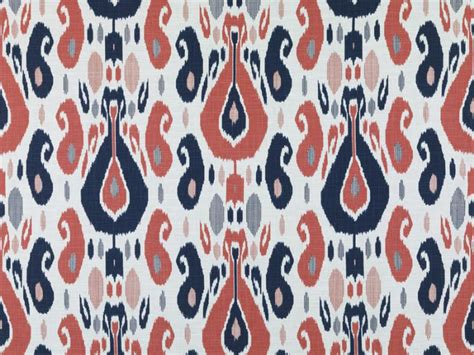 coral ikat curtains navy blue coral ikat upholstery fabric large scale blue