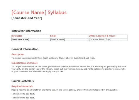 course syllabus template syllabus template syllabus templates for teachers
