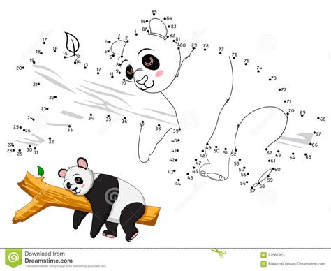 connect the colors panda connect the dots and color stock vector