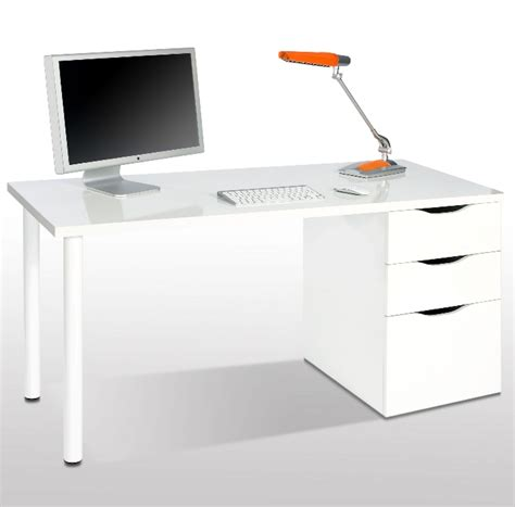 White Gloss Desk With Drawers Madrid White Gloss Computer Desk In White