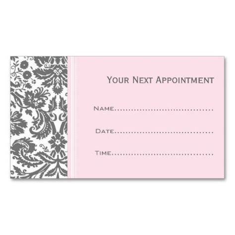 design love fest business cards pink grey damask salon appointment cards business card