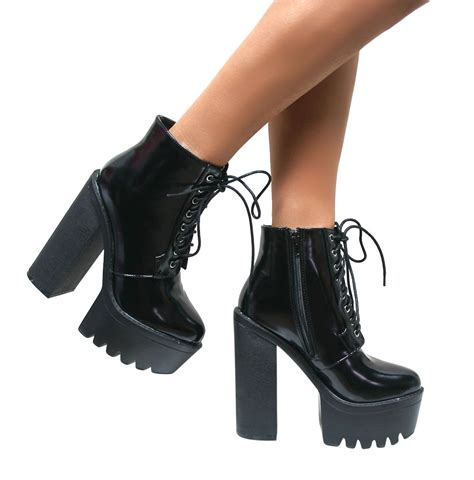 womens chunky cleated sole high heel platform lace