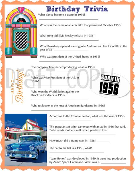 birthday themes quiz 1956 birthday trivia game birthday party trivia instant