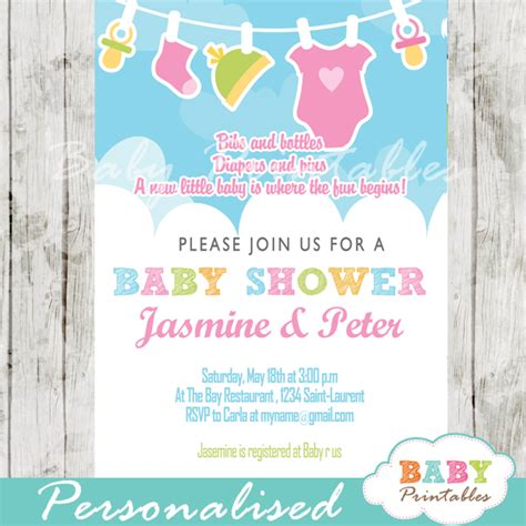 Blue And Pink Baby Shower Invitations by Pink Green Baby Clothes Baby Shower Invitation