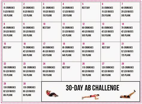 30 days abs challenge calendar danica s thoughts ab arm challenge
