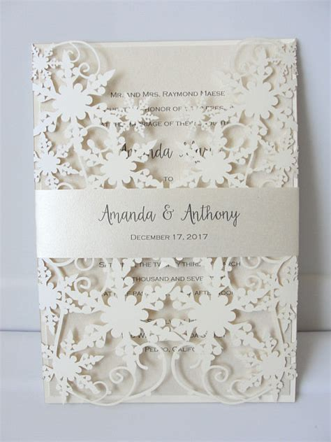 winter wedding invitation snowflake wedding invite