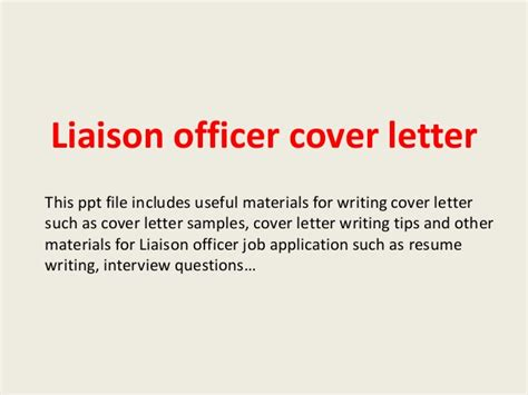 Endorsement Letter For Liaison Officer Liaison Officer Cover Letter