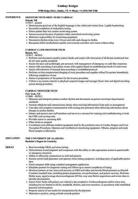 cardiac monitor tech resume sles velvet