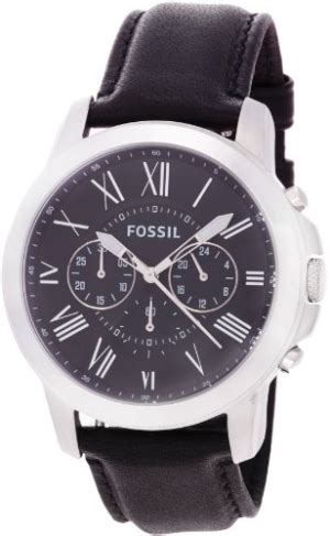 Fossil Machine Fs4773 Silver fossil watches s machine cuff leather black
