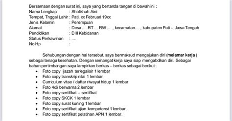 contoh penulisan surat lamaran pekerjaan untuk bidan perbidkes