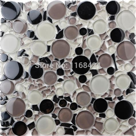 circle backsplash tile aliexpress buy black mixed gray and clear color small and big glass mosaic tiles for