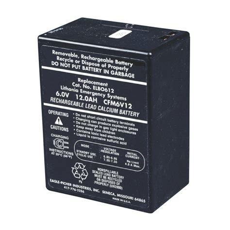 Baterai Lu Emergency 6 Volt Lithonia Lighting 6 Volt Emergency Replacement Battery Elb 0612a The Home Depot