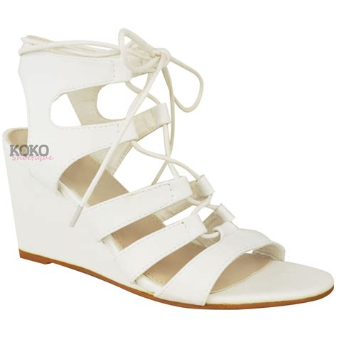 lace up high heel sandals womens strappy wedges mid high heel sandals lace up
