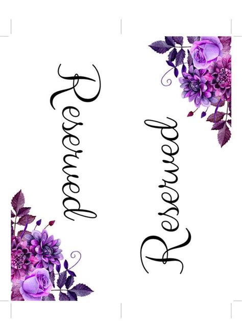 purple reserved cards template reserved table signs templates modern coffee tables and