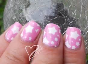 Super cute pink amp white star nail art design for short nails