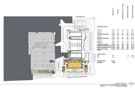 music city center floor plan level 1m davidson ballroom nashvillemusiccitycenter com