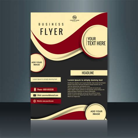 business flyer design vector free download business flyer with circles and red waves vector free