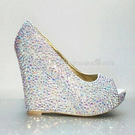 White Wedge Bridal Shoes by White Wedding Shoes Rhinestone Wedge