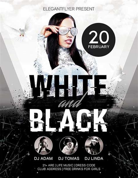 Download White And Black Party Free Psd Flyer Template For Photoshop Flyer Template Black And White