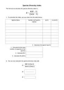 AQA Species Diversity Index Calculation Worksheet by
