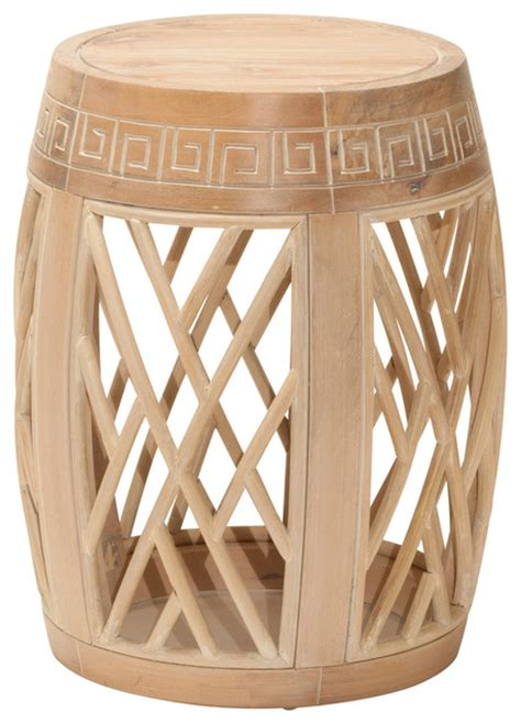 wood drum table antique beige finish eclectic side