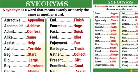list of synonyms and antonyms in you should synonym list of 250 synonyms from a z with exles 7