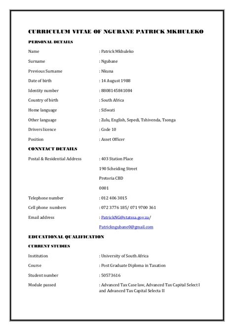 ngubane pm cv professional accountant south africa
