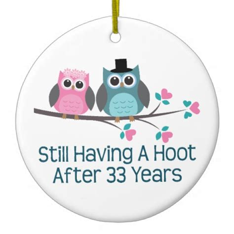 Gift For 33rd Wedding Anniversary Hoot Double Sided