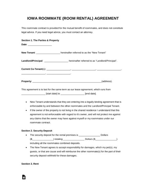 Free Kansas Room Rental Roommate Agreement Form Pdf Word Eforms Free Fillable Forms Iowa Lease Agreement Template