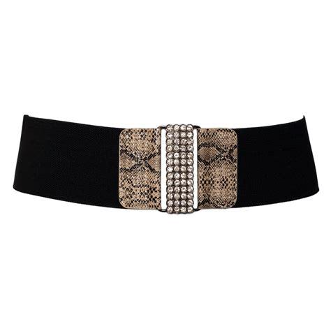 plus size snake skin print rhinestone closure elastic belt