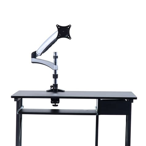 Computer Monitor Desk Stand Homcom 15 27 Single Lcd Monitor Desk Mount Stand Gray And Black