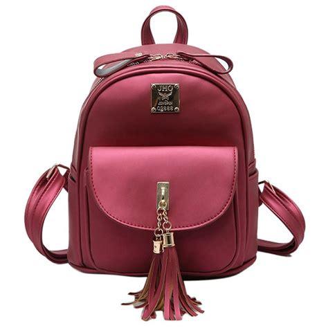 Pocket School Backpack 0318 simple front flap pocket school backpack tassels bag student backpacks fashion