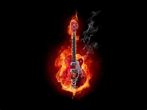 wallpaper abyss music burning guitar wallpaper and background image 1600x1200